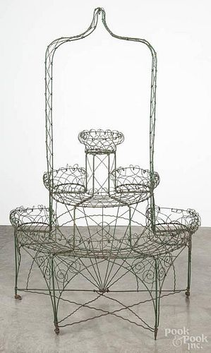Victorian painted wire plant stand, late 19th c., 70'' h., 45'' w.