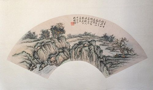 Chinese Ink/Color Fan Painting, Signed