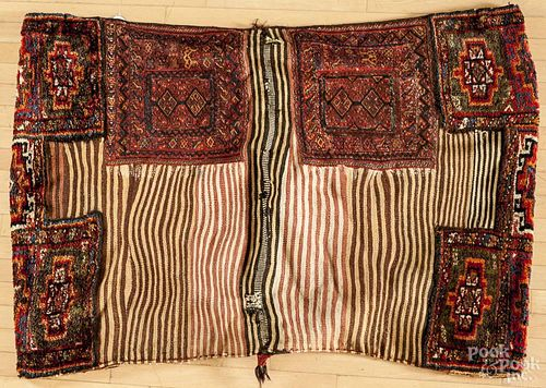 Large flat weave saddle bag, 4'7'' x 3'4''.