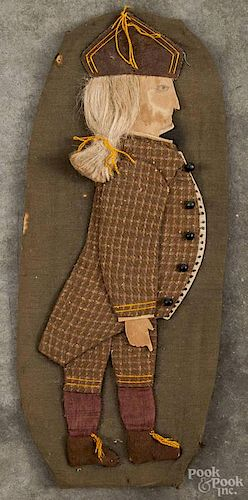 Fabric silhouette of a gentleman, ca. 1900, over cardboard, 15 1/2'' h.