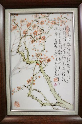 Chinese Porcelain Plaque w/ Frame, Signed