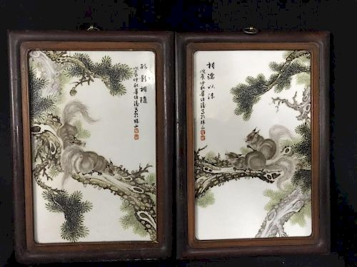 Pair of Chinese Porcelain Plaque