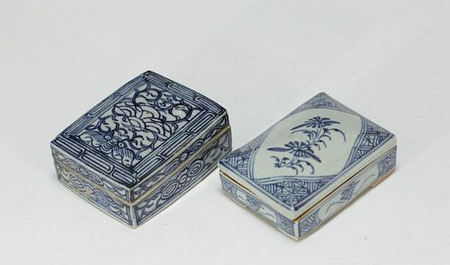 Qing Dynasty Two Chinese Porcelain Cover Boxes