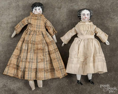 Three bisque molded head and shoulder dolls, 19th c., tallest - 12 1/2''.
