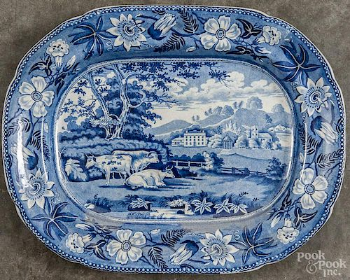 Staffordshire blue and white transferware platter, 19th c., with a bucolic landscape, 16 1/2'' w., 13
