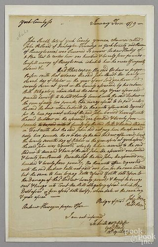 Andrew Hershey signed judgment, York County, Pennsylvania, dated 12th April 1779, in regards to mo