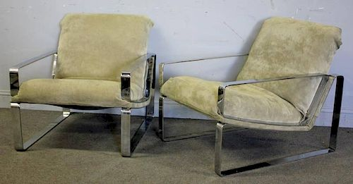 Midcentury Pair of Unusual Chrome Lounge Chairs.