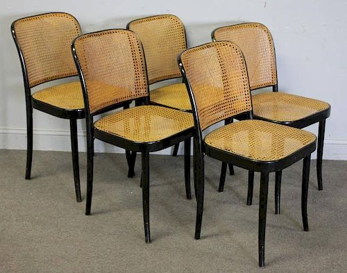 Midcentury Set of 5 Stendig Cane Chairs.