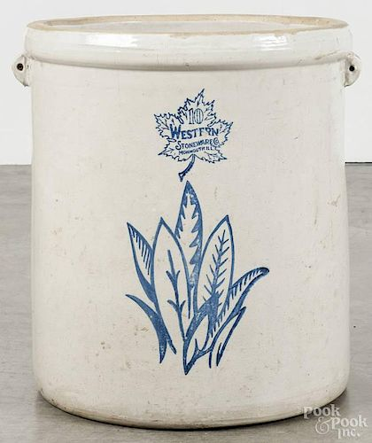 Western Stoneware Co. ten-gallon crock, ca. 1900, with stenciled foliate decoration, 17 1/2'' h.