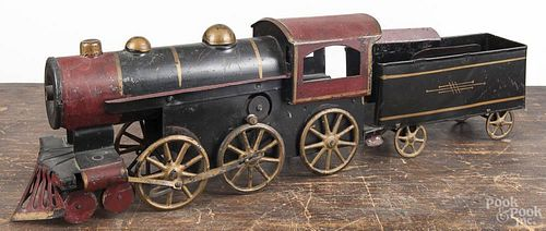Pressed steel hill climber train engine and tender, overall length - 22''.
