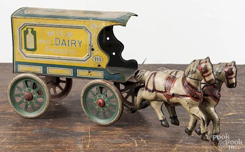Tin litho horse drawn Dairy wagon, 13'' l.