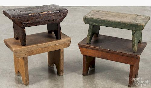 Four pine footstools, 19th/20th c., tallest - 10''.