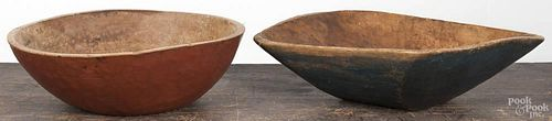 Painted trencher and bowl, 19th c. 4'' h., 15 1/4'' w. and 4 1/4'' h., 14'' dia.