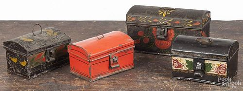 Four small toleware dome top boxes, 19th c., largest - 3 1/4'' h., 6 1/4'' w.