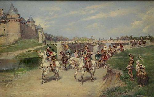 MARCHETTI, Ludovico. Oil on Wood Panel. Procession