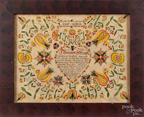 G. B. French, watercolor fraktur, signed lower right, 13'' x 16 3/4''.