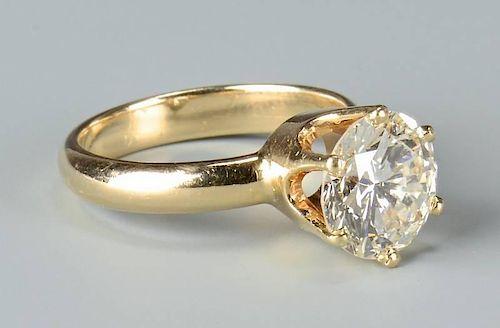 3.10 round diamond, GIA cert., 14k