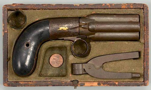 French Mariette Pepperbox Pistol, Lepage Paris by Case Antiques, Inc
