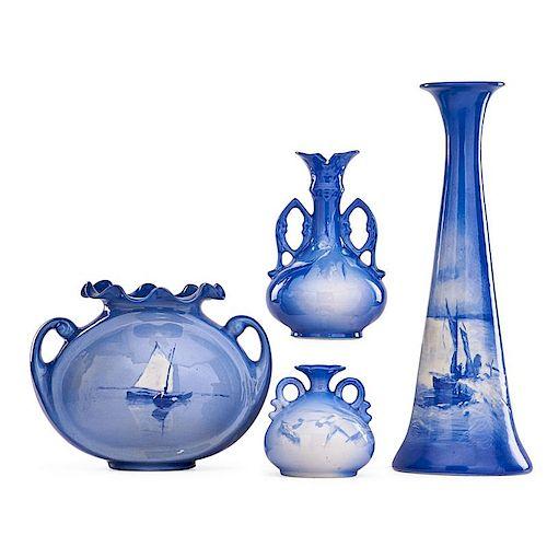 ROSEVILLE Four Azurean vases
