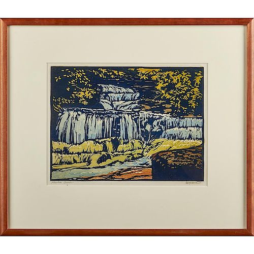 WILLIAM S. RICE Color woodblock print
