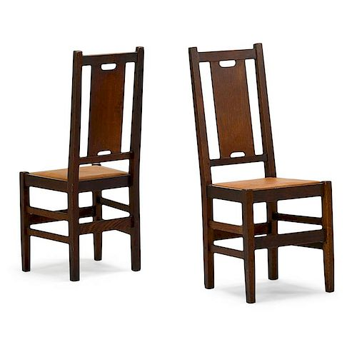 GUSTAV STICKLEY Two H-back side chairs