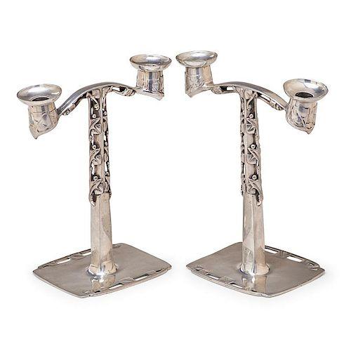 ARCHIBALD KNOX Pair of Tudric candlesticks