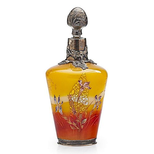 GALLE Early bottle w/ silver overlay