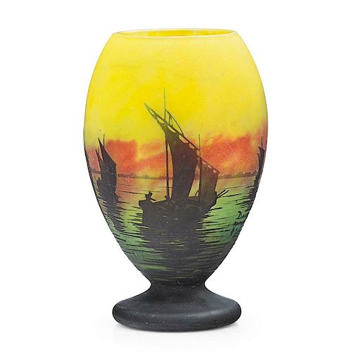 DAUM Cameo glass vase with sailboats