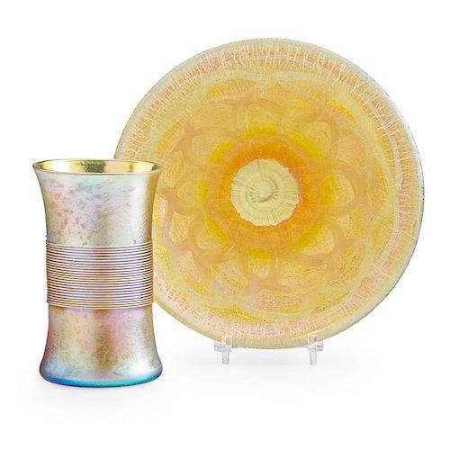 TIFFANY STUDIOS Goblet and plate