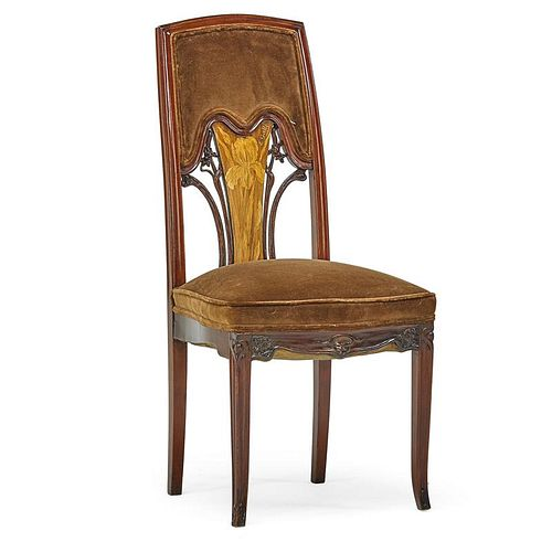 EMILE GALLE Marquetry side chair