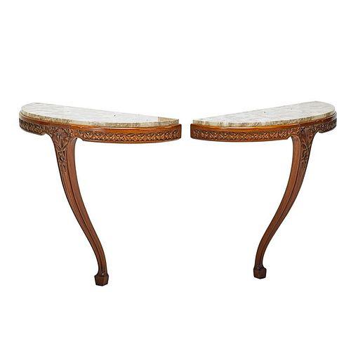 LOUIS MAJORELLE Pair of console tables