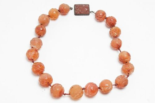Chinese Carnelian Carved-Bead Choker Necklace