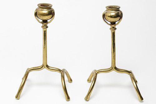 Aesthetic Movement Brass Poppy Stem Candlesticks