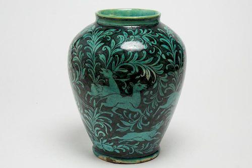 Persian Vase w Turquoise & Black-Glazed Hunt Scene