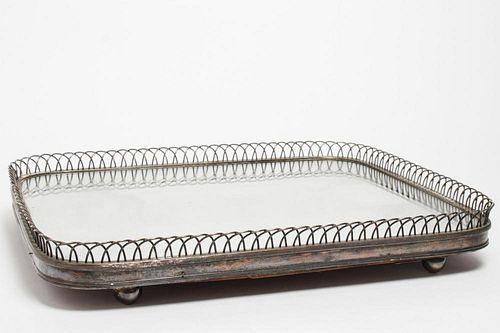 Antique Silver-Plate Mirrored Centerpiece Plateau
