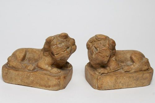 Chinese Carved Marble Foo Dog Sculptures