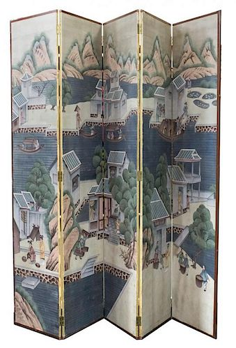 Chinese Paper on Panel Folding Screen, 5-Panel