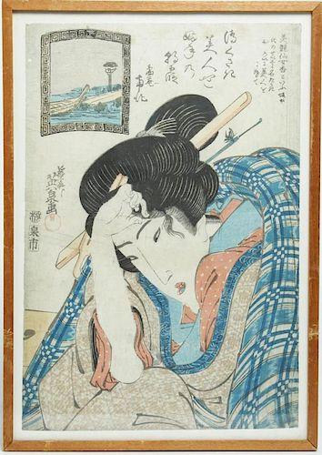 Keisai Eisen (Japanese, 1790-1848)- Woodblock