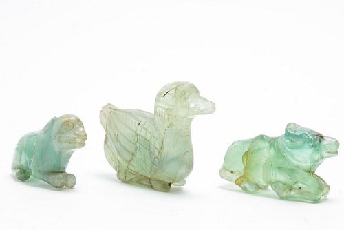 Chinese Green Rock Crystal Animal Amulet Carvings
