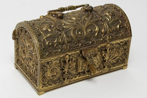 Aesthetic Movement Gilt Brass Antique Jewel Chest