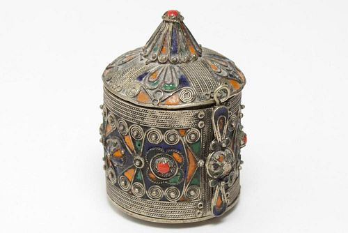Berber Enamel, Coral, & Filigree Metal Box, Tribal