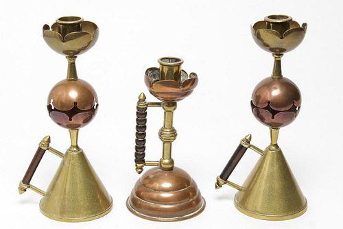 Aesthetic Movement Copper & Brass Candlesticks, 3