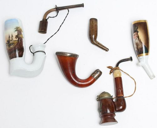 Antique Pipes- 5 Wood, Porcelain, & Silver-Mounted