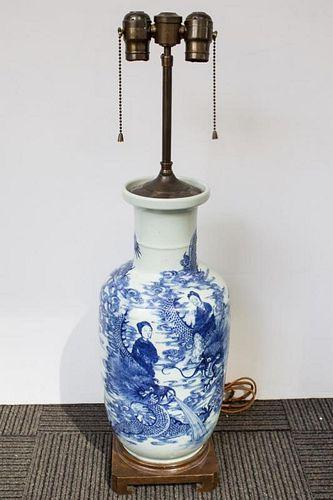 Chinese Antique Porcelain Blue & White Vase Lamp