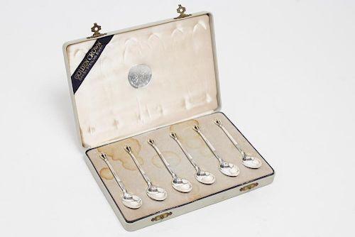"""Sorensen Danish Silver """"Golden Crown"""" Spoons, 6"""