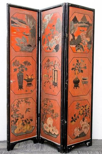 Chinese Black & Red Lacquer Folding Screen