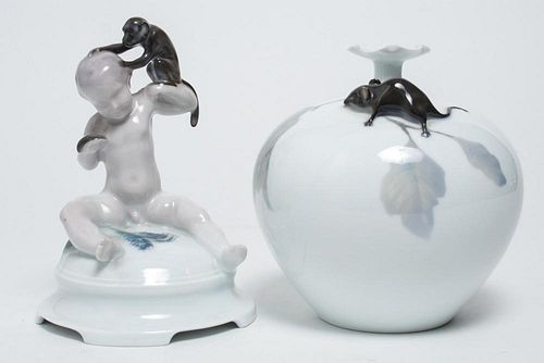 Rosenthal Animalier Porcelain Vase & Figure