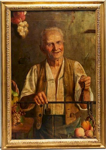 Signed Caloji A.- Genre Painting, Oil on Canvas