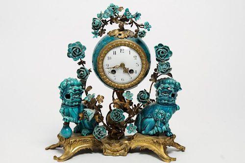 Louis XVI Bronze & Chinese Porcelain Clock