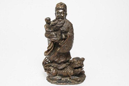 Chinese Deity Figure of Lu, God of Wealth, Metal